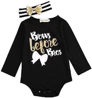Newborn Baby Girl Boys Bodysuit Romper Jumpsuit+ Headband 2PCS Outfits