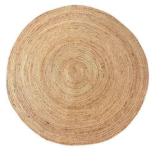 LaLe Living Alfombra redonda natural YUVA de yute, redonda, diámetro de 150 cm, para comedor, salón, habitación de los niños, oficina