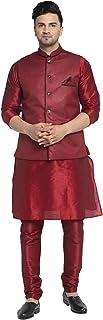BENSTOKE Mens Silk Blend Kurta Pajama with Jute Nehru Jakcet