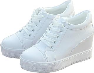 Zapatillas de Plataforma para Mujer, Zapatos Deportivos Blancos y Negros para Primavera y otoño, Tacones de cuña con Cordo...