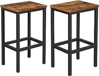 VASAGLE Lot de 2 Chaises de Bar, Tabourets Hauts de Style Industriel, pour Cuisine, Salle à Manger, Salon, Marron Rustique...