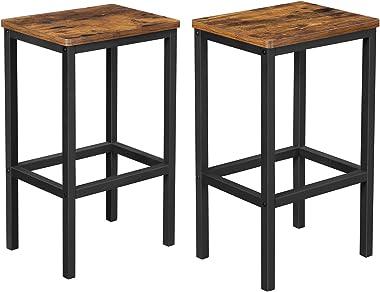 VASAGLE Lot de 2 Chaises de Bar, Tabourets Hauts de Style Industriel, pour Cuisine, Salle à Manger, Salon, Marron Rustique LB