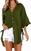 🍒 Spring Color 🍒 Women's Casual Solid V-Neck Shirt Half Sleeve Tops Button Down Tie Side Knot Loose Shirt Blouse Tee
