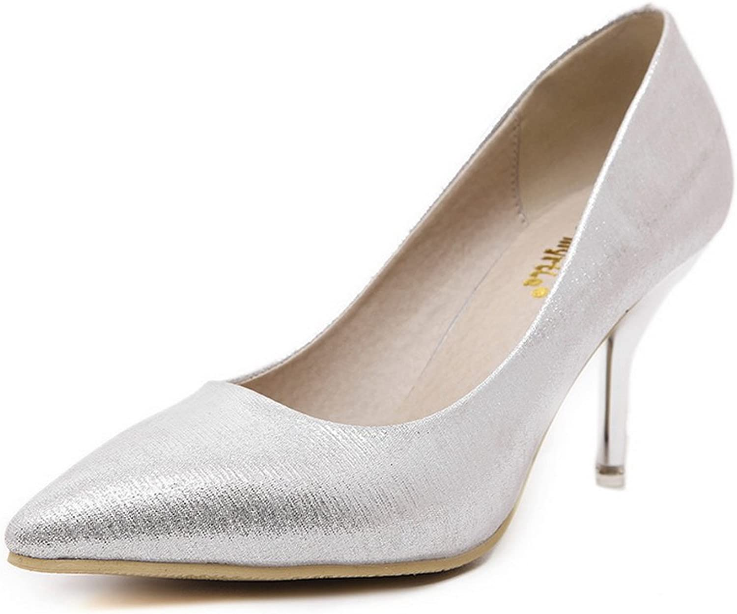 1TO9 Womens Spikes Stilettos Low-Cut Uppers Pointed-Toe Silver Urethane Pumps shoes - 7.5 B(M) US