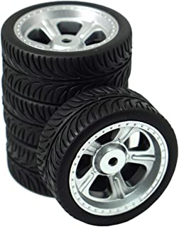 ShareGoo 12mm Hex Wheel Rims & Rubber Tires Tyre for RC 1/10 on-Road Touring Drift Car,Sliver(Pack of 4)