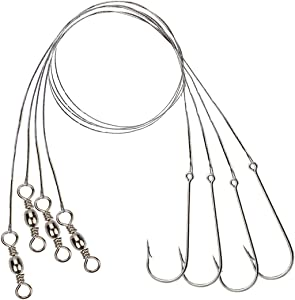 Beoccudo Saltwater Long Shank Fishing Hooks, 100PCS Stainless Steel Fish Rig Wire Leader, Bottom Fishing Hairtail Tackle