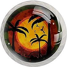 Lade handgrepen trekken ronde kristallen glazen kast knoppen keuken kast handvat,Zonsondergang strand tropische palmboom