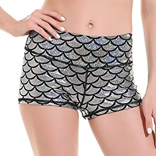 Beishi Womens Sport Pants,Fashion Women's Mid Waist Slim Fish Scale Printing Running Yoga Shorts