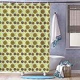 unknow Wasserdichter Duschvorhang, graubraune Punkte & Blumen, Badvorhänge, wasserabweisend, seifenwiderstandsfähig, trocknet schnell, 180 x 180 cm