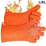 Jolly Green Products Ekogrips Premium BBQ Oven Gloves | Heat Resistant Grill Gloves | Insulated Silicone Oven Mitts for Grilling | Waterproof | Forearm Protection | (L/XL, Orange)