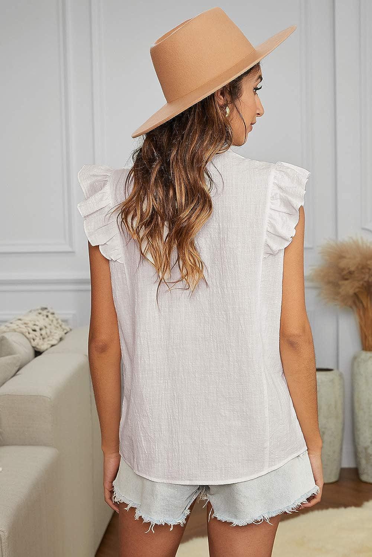 Aleumdr Women's V Neck Button Down Shirts Casual Ruffle Cap Short Sleeve Tops Blouses