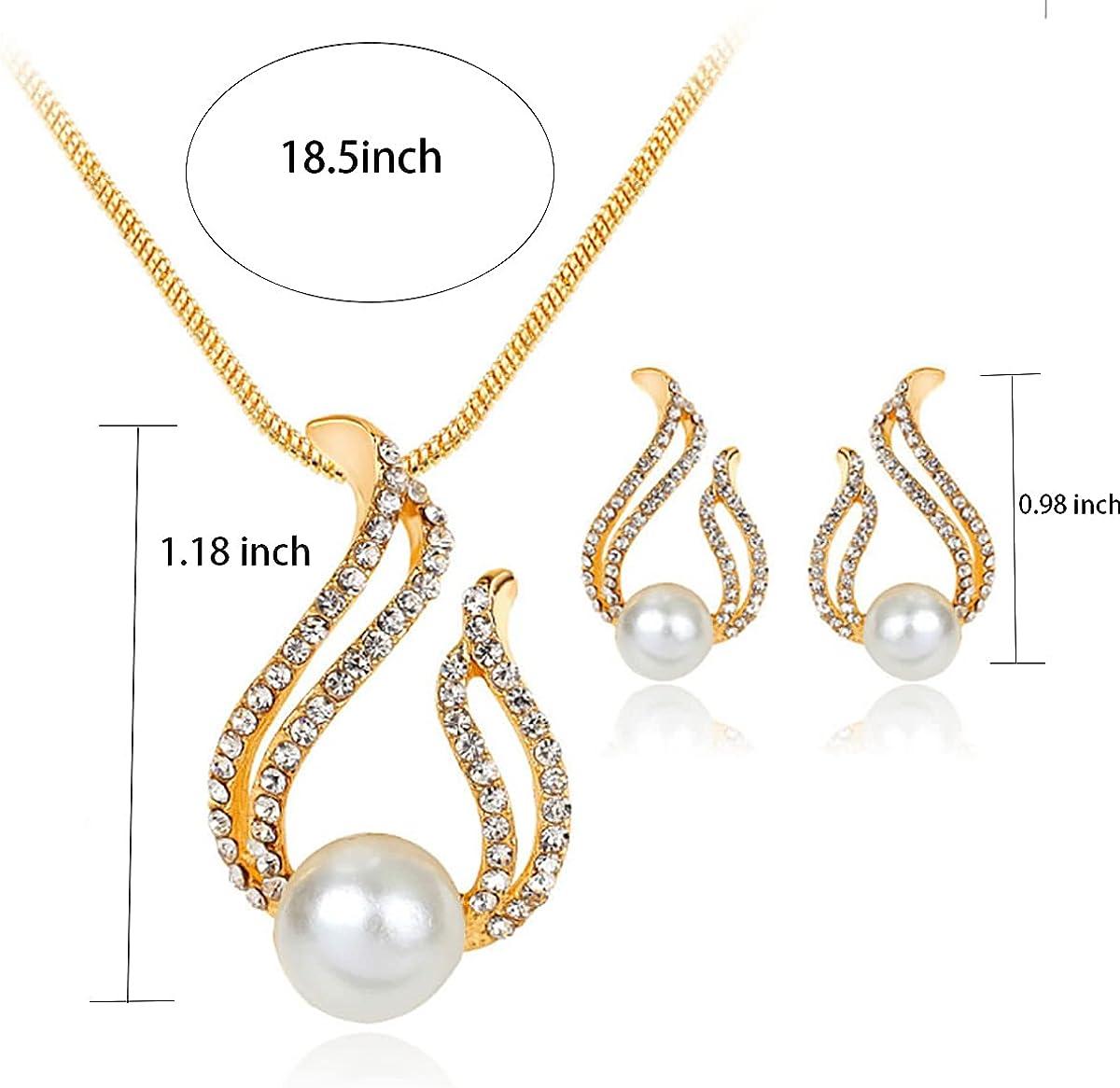 QIQILUXI Women Pearl Pendant Drop Necklace Earring Set Wedding Gift Jewelry Set