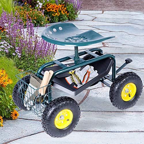 Dporticus Rolling Garden Steerable Tool Cart...