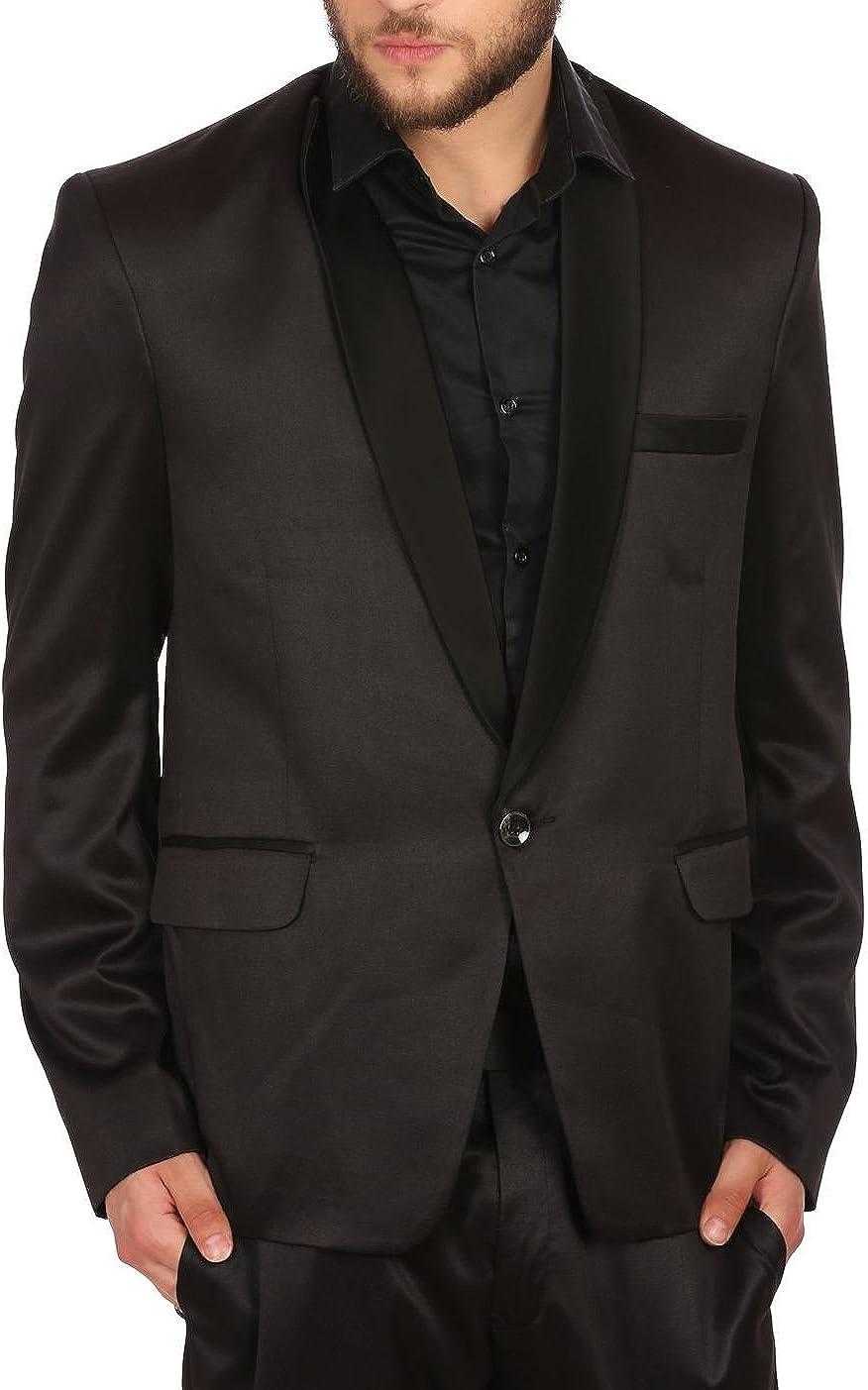 WINTAGE Men's Poly Blend Notch Lapel Tuxedo Blazer: Black