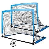 amzdeal Fußballtore für Kinder, 2er Set Pop-up Tor klappbar, 126 x 95 x 95 cm, Schnelle Montage, Ideal für Garten, Park, Strand