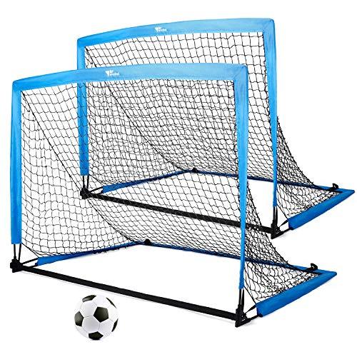 amzdeal Fußballtore für Kinder, 2er Set Pop-up Tor klappbar, 126 x 95 x 95 cm, Schnelle Montage, Ideal für...