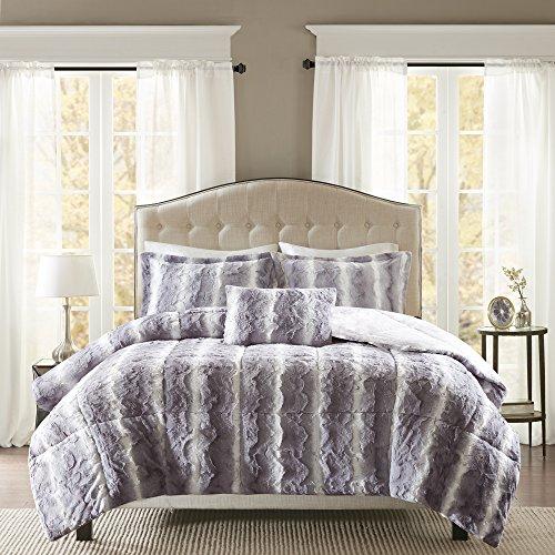 Madison Park Zuri Soft Plush Comforter Fur Animal Stripes Design, Faux Mink On The Reverse Modern All Season Bedding Set with Matching Sham, King, Grey, 4 Count
