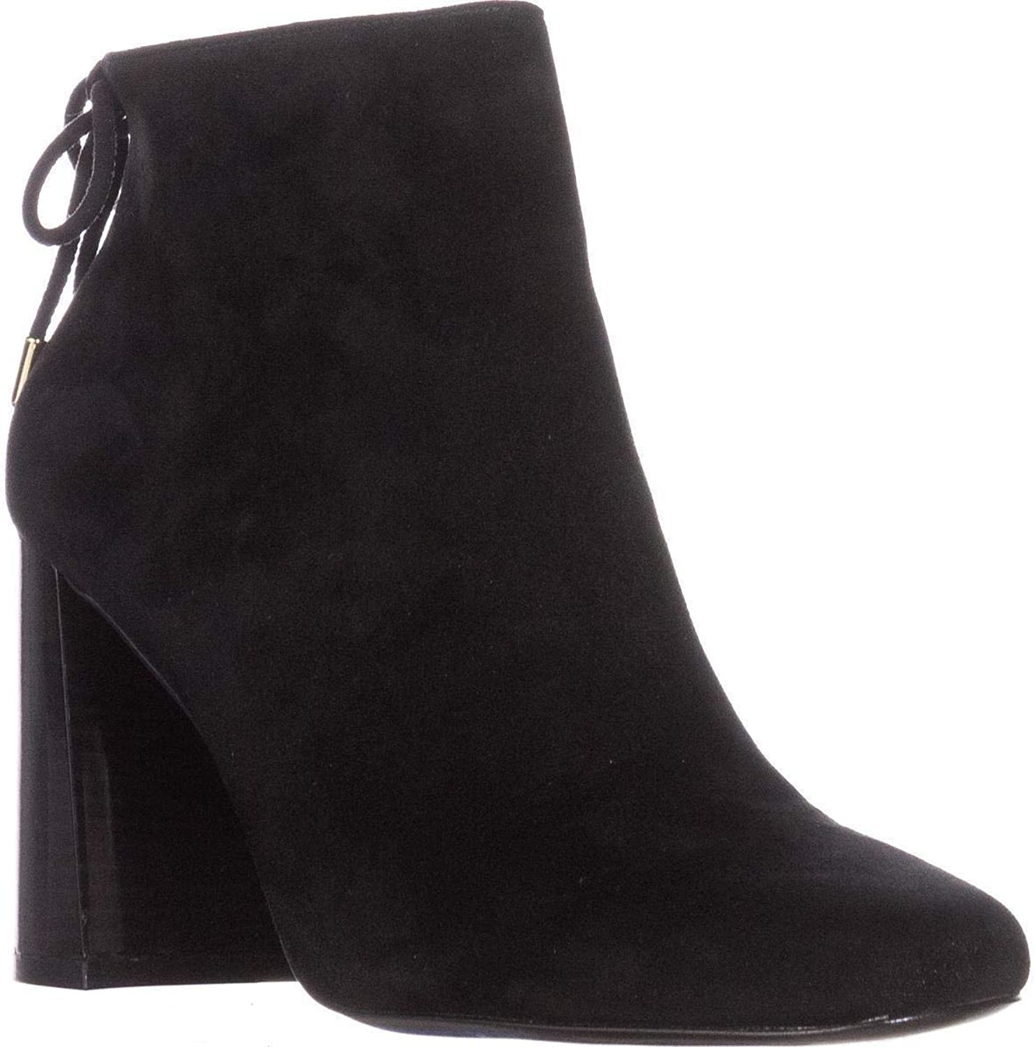 INC International Concepts I35 Denelli Tie Ankle Boots, Black Suede