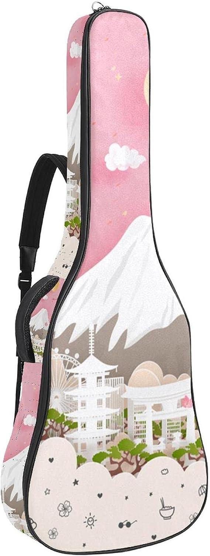 Bolsa de guitarra acústica acolchada gruesa impermeable doble correa de hombro ajustable para guitarra, bolso de concierto japonés flor de cerezo volcán 42,8 x 42,8 x 11,9 cm