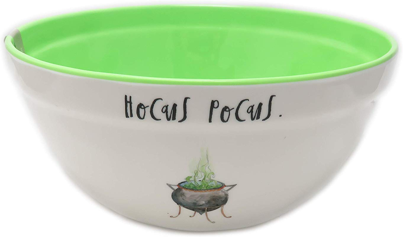 Rae Dunn By Magenta HOCUS POCUS Script Melamine Cauldron Icon Mixing Bowl With Green Interior