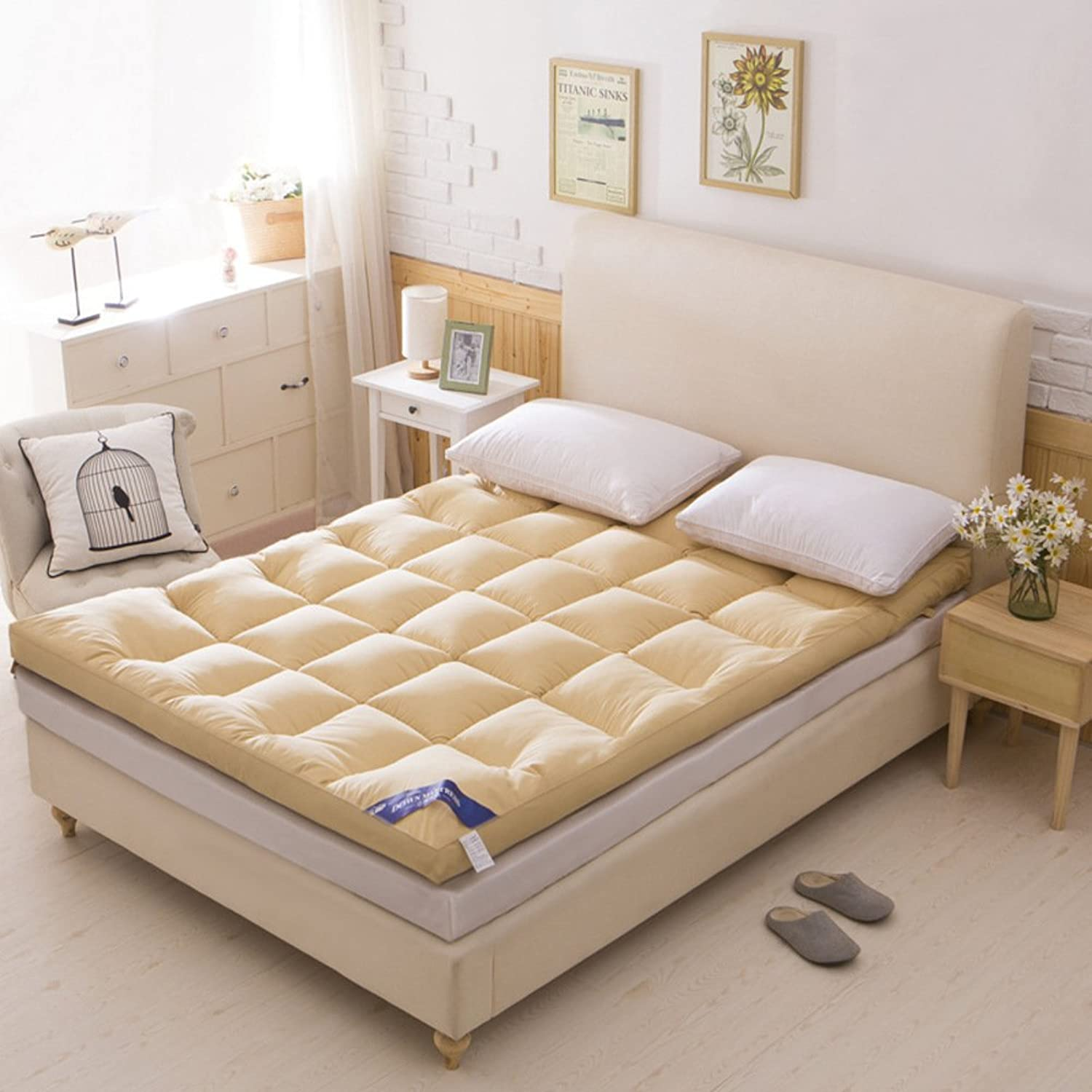 Thicken Plaid Mattress,Feather Velvet Bed pad Double Tatami mat-A 90x200cm(35x79inch)