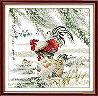 スタンプクロスステッチキットチキン大人のための初心者フルレンジDIYニードルポイント手工芸品子供の家の装飾40X50CM11CT印刷済み用品