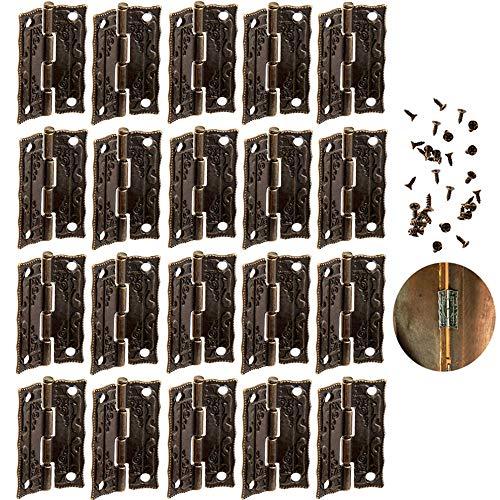 yyuezhi Mini Bronze Scharnier Mini Schublade Bronze Dekorative Scharniere Steckverbinder Im Retro-Stil AntikBronzefarben Dekoration Schmuck Holzkiste Möbel Hardware Schrank Schmuck Schränke(20 Stück)
