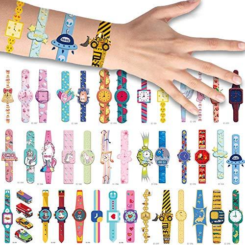 Bibivisa 40x Cartoon-Uhr Temporäre Tattoos für Kinder, Klebe Tattoo Wasserdichter Festival Körperkunst Aufkleber Tätowieren für Mädchen Kindergeburtstag Mitgebsel Party Tattoos