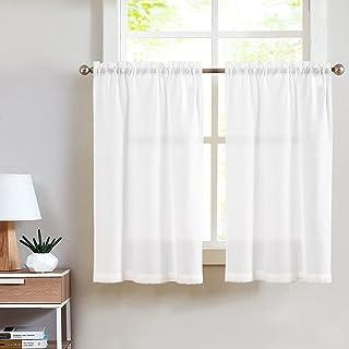 TOPICK Lot de 2 rideaux brise-bise en lin - 65 x 90 cm - Blanc