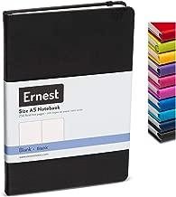 Ernest Classic Hardcover Notebook/Journal Black-Blank, Premium Ivory Paper, Expandable Inner Pocket, Organizational Stickers (black, blank)