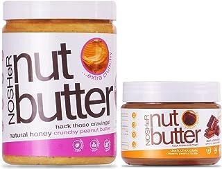 NOSHeR Natural Honey Crunchy Peanut Butter 1kg plus NOSHeR Dark Chocolate Creamy Peanut Butter 340g Super Saver Combo Pack...