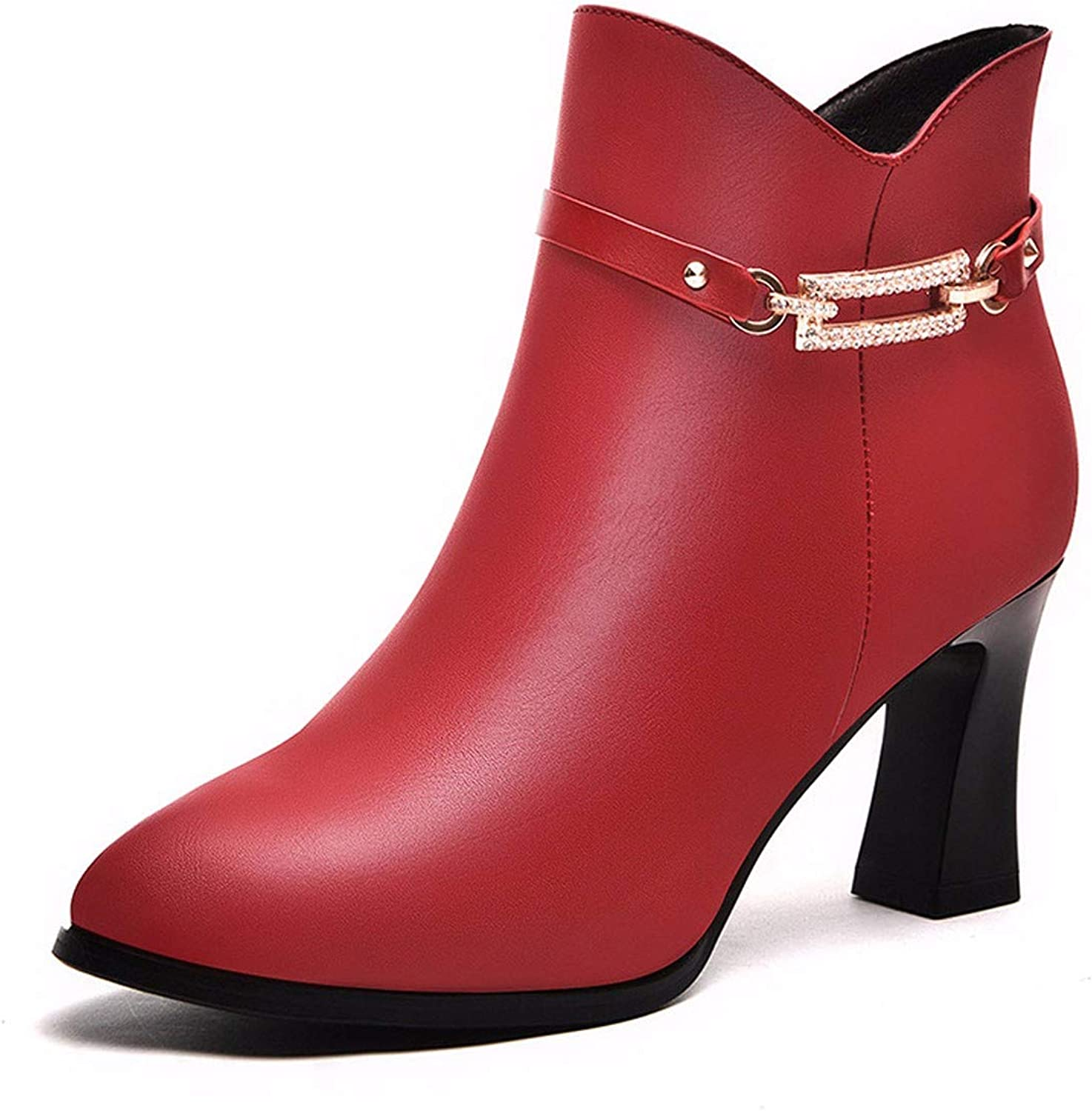 GTVERNH Women's shoes Thick and Short Boots gold Wire Autumn and Winter Martin Boots Ladies Leather Boots and Velvet.