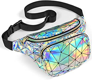 Packism Fanny Pack, Holographic Fanny Pack for Women Men, Waterproof Shiny Neon Waist Pack Bag for Festival Rave Party, Ir...