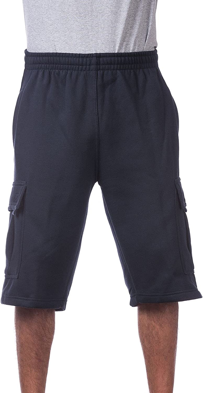 Pro Club Mens Fleece Cargo Shorts Navy