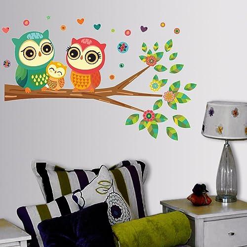 Decals Design 'Big Eyed Cute Owl Family' Wall Sticker (PVC Vinyl, 60 cm x 45 cm, Multicolour)