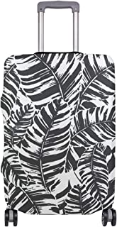 FANTAZIO Suitcase Protective Cover Luggage Cover Black White Banana Leaf ONLY COVER
