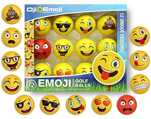 Oji-Emoji Premium Emoji Golf Balls, Unique Professional Practice Golf Balls, 12-Pack Emoji Golfer Novelty Golf Gift for All Golfers, Fun Golf Gifts for Men, Dads, Women, Kids, golf accessories