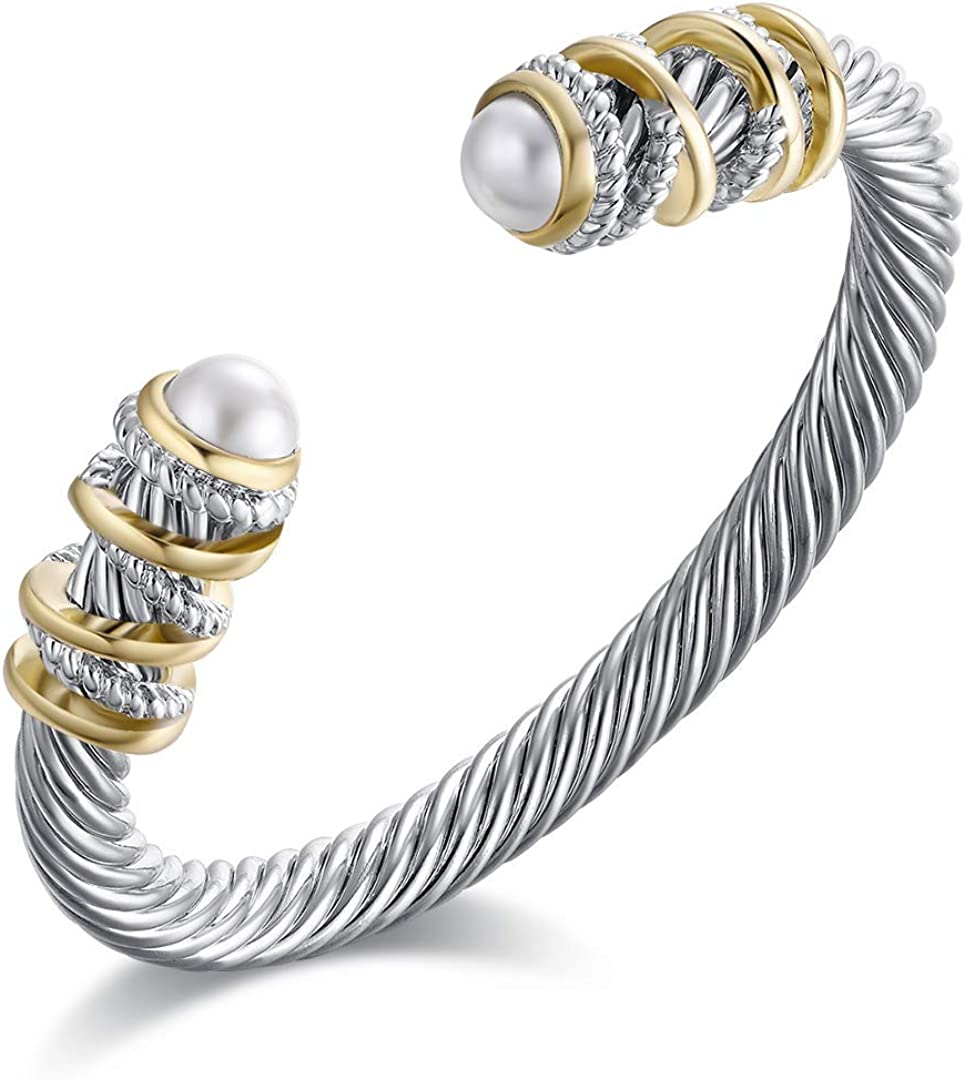 Eastbon Twisted Cable Bracelet with Composite Shell Pearl Antique Cuff Bracelets for Women