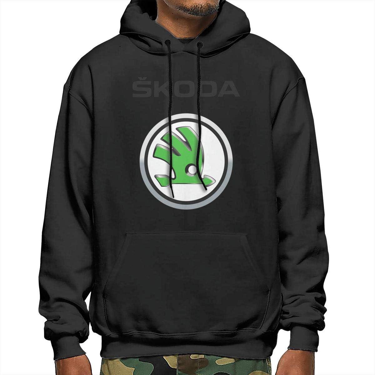 HRSHENG Boys Designed Skoda Motors Logo with Hood Cool Sweatshirt Black
