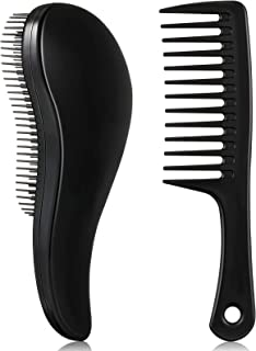 2 Pieces Detangler Hair Brush Wide Tooth Comb, Detangling Hairbrush for Tangle-free Hair Paddle Hair Comb Care Handgrip Co...