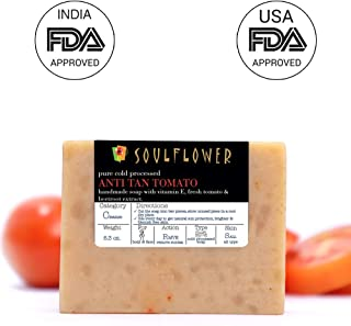 Anti-Tan Tomato Handmade Soap by Soulflower, 100% Natural, Organic, Vegan & Coldprocessed - Skin Brightening, lightens Suntan and cleanses skin - USFDA approved, Indian Formulation, 5.3Oz