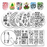 Dewel Nail Art Stamping 10pcs Placas Estampacion Uñas para Manicura con Sello de Silicona Diseño para Navidad