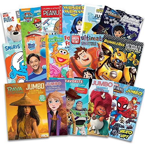 16 Bulk Coloring Books for Kids Ages 4-8 - Assortment Bundle Includes 16 Kids Coloring and Activity Books Bundle with Games, Puzzles, Mazes, and Stickers (No Duplicates)