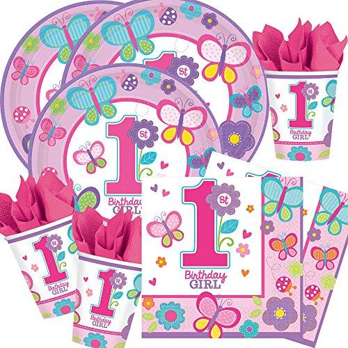 Amscan 48-teiliges Party-Set 1. Geburtstag Mädchen Sweet Birthday Girl - Teller Becher Servietten mit Schmetterlingen und Blumen für 16 Personen