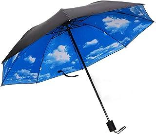 Compact Sun&Rain Travel Umbrella - Auma Windproof, Reinforced Canopy, Lightweight Portable Umbrella with UV Protection-Blue Sky