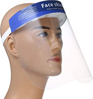 10Pcs Reusable Safety Face Shield Adjustable Transparent Full Face Protective Visor with Eye & Head Protection, Anti-Spitting Splash Facial Cover
