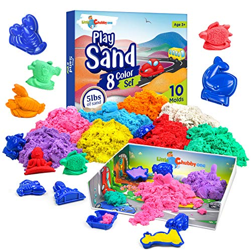LITTLE CHUBBY ONE 8 Color Kids Play Sand Set - 5 Lbs of Sand - Toy Magic Sand Set - 10 Molds and Tray for Girls and Boys - Ideas for Children Activities Age 2 3 4 5 6 7 8 9 10