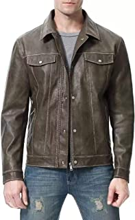 Mens Leather Motorcycle Jacket Pu Biker Cowhide Waterproof Bomber Coats Lightweight Winter with Button Stitching