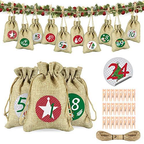 Calendario de Adviento, Navidad Bolsas de Yute, Calendario de Adviento Casero, Rellenar Bolsa de Regalo Navidad, Incluir 1-24 Pegatinas Rojo Verde, Navidad Artesanias Decoración