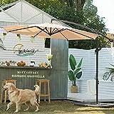 Wikiwiki Patio Offset Hanging Umbrella 10 FT Cantilever Outdoor Umbrellas w/Infinite Tilt, Fade Resistant & Waterproof Solution-dyed Canopy & Cross Base, for Yard, Garden, Deck & Lawn (Beige)